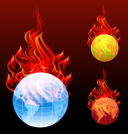 globe in the fire and smoke Vector
