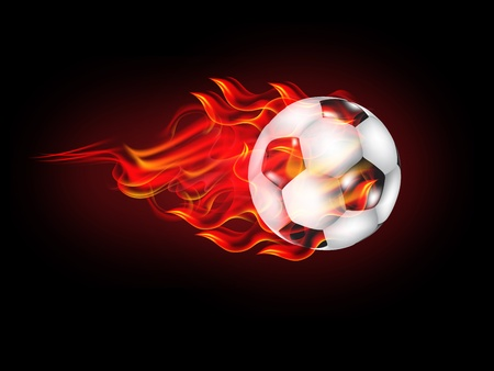 illustration of Soccer Ball on Fire Vector