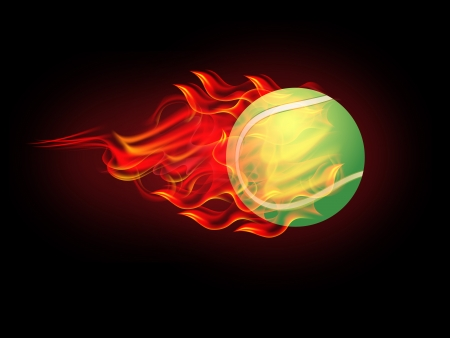illustration of Tennis Ball on Fire Vector