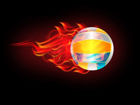 fire ball: illustration of Volleyball symbol on fire