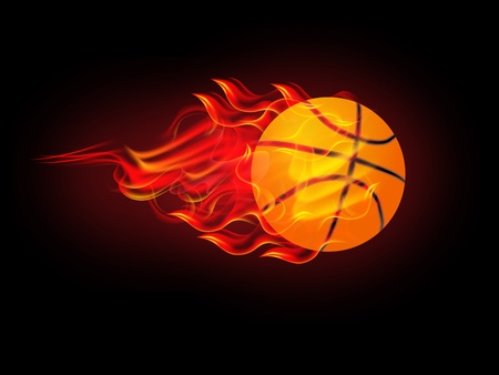 fire symbol: illustration of basketball poster on fire Illustration