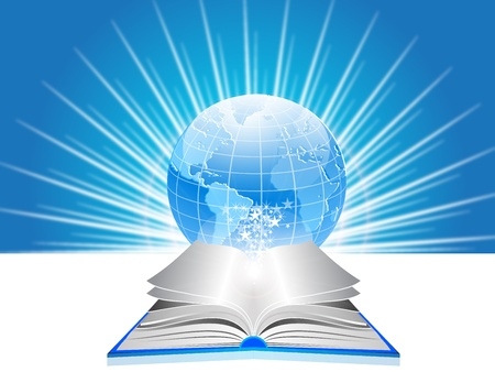 libros volando: ilustración de libros abiertos y el mundo Vectores