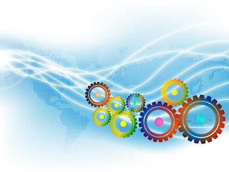 illustration of techno gears abstract Vector