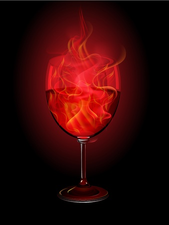 Red wine and flame in the goblet on black background, Vector