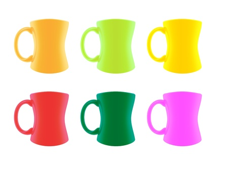 threateningly: colored set mugs vector illustration Illustration