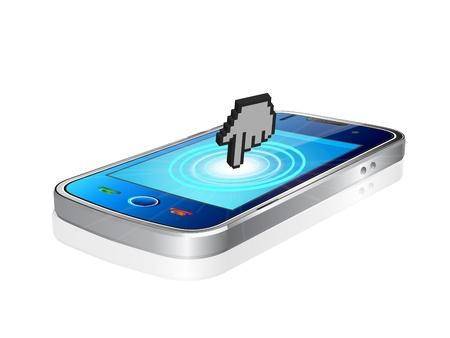 pda: Modern mobile phone and large cursor Illustration