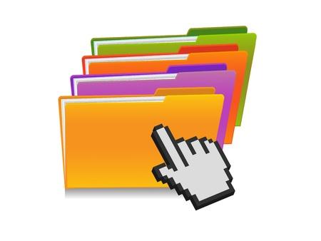 clic: illustration of folder and hand cursor Illustration