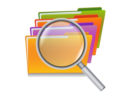 optical glass: folders search icon - folders under the magnifier isolated on white