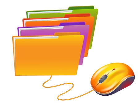 Computer mouse and colored  folders Vector