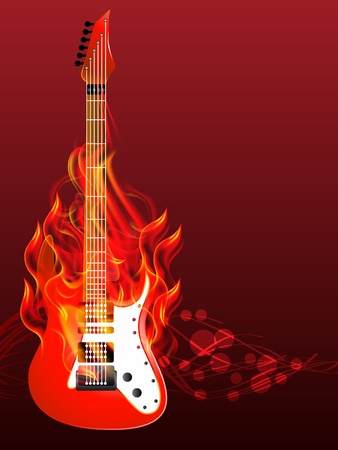 illustration of Burning guitar Vector