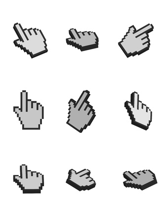 illustration of cursor hand on white background