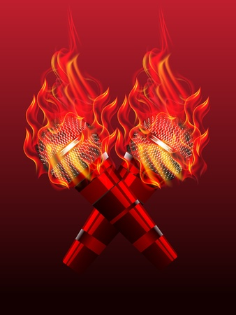 illustration of fire microphone with fire flame Vector