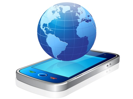 three dimensional mobile phone and world globe isolated on white Illustration