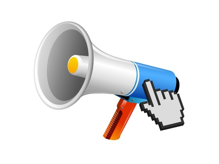 loud speaker:  loud speaker, bullhorn, vector megaphone icon. Sound, wave audio.  Illustration