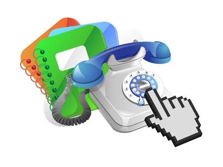 directorio telefonico: el directorio telef�nico y el cursor sobre fondo blanco Vectores