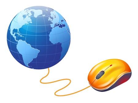 mundo manos: Internet World Wide Web Concept, globo terráqueo con el ratón del ordenador