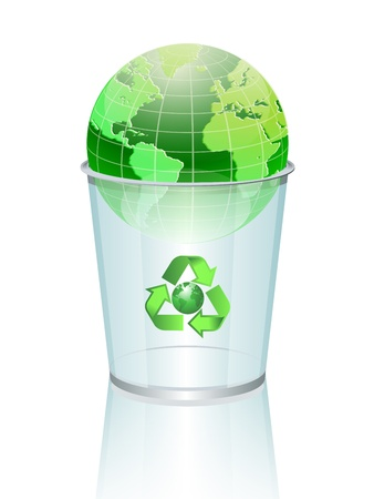 World globe in a garbage Stock Vector - 12069343