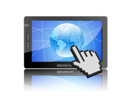 Tablet PC with world map and hand cursor Stock Vector - 12069339