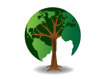 gaia: Environmental concept. Tree forming the world globe