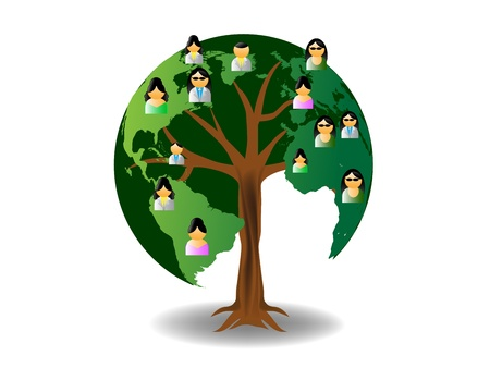 asian couple: world tree with people icons