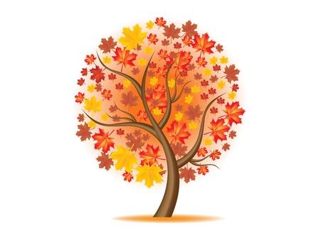 szeptember: illusztráció szép őszi fa
