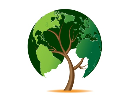 the climate: Environmental concept. Tree forming the world globe