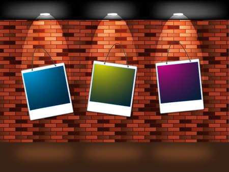 illustration of Empty frames on brown brick  Vector