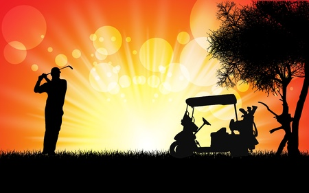 male golfer hit golf ball toward the hole at sunset silhouetted photo