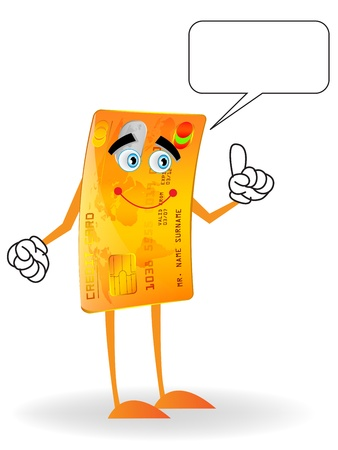 illustration of credit card mascot character with talking