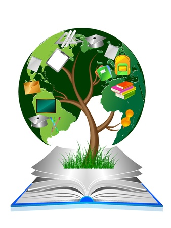 illustration of education tree in the book Vector