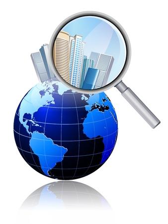 illustration of Magnifier on Blue Map globe Vector