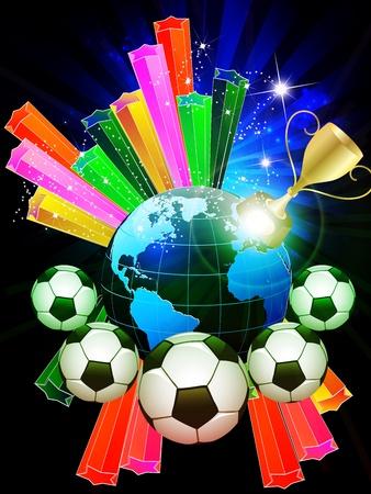 footbal: Colorful World Footbal Championship Illustration