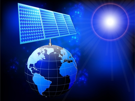solar equipment: illustration of earth with solar panel and sun