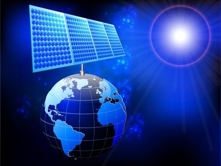 solar equipment: ilustraci�n de la tierra con el panel solar y el sol Vectores