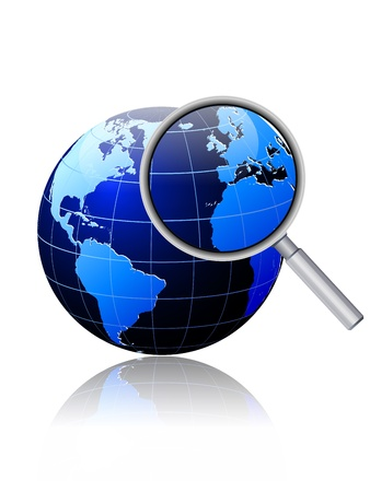 environment geography: Image of the earth with a magnifying glass