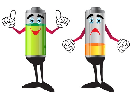 charge: illustration of battery sand and happy cartoon