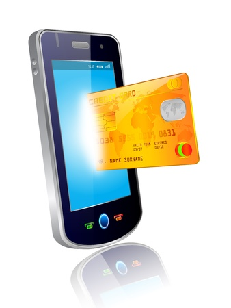 technology transaction: shopping with smart phone and credit card Illustration