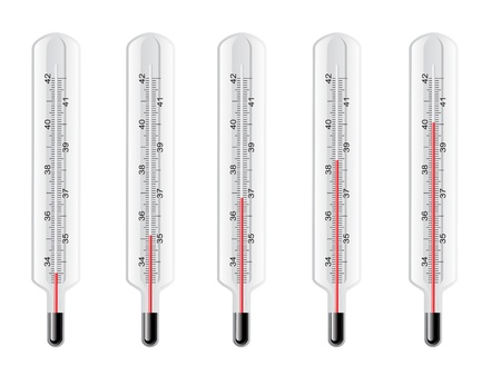 thermometers: vector thermometers at different levels Illustration