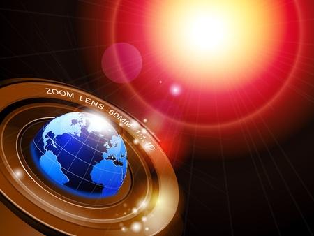 meridiano: Ilustración de un globo en el fondo tecnológico abstracta Vectores