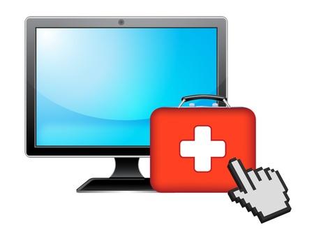 historia clinica: ordenador y la salud Vectores
