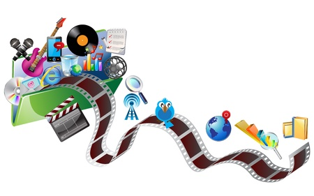 computer, business, shopping, science, education and music icons in folder