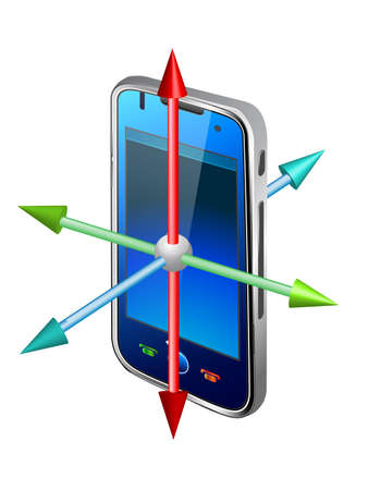 cellphone and blue and red arrow icon Stock Vector - 12268706