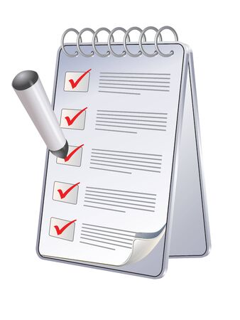 meeting agenda: Office still-life (pen and planner) on white background (isolated)
