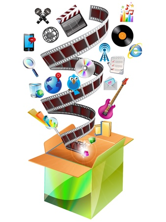 Vidéo multimédia et Photo Icons dans la boîte de carton. Vecteurs