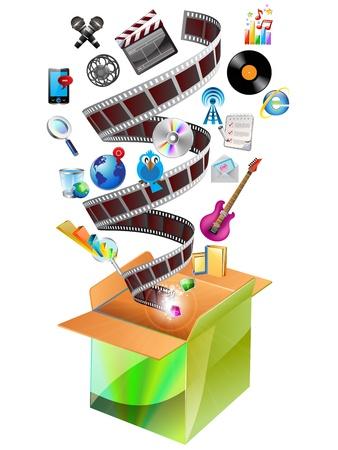 Video e multimedia Photo Icons in scatola di cartone. Vettoriali