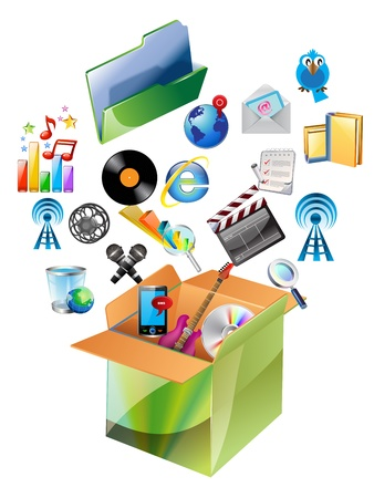 photo icons: multimedia Video and Photo Icons in carton box. Illustration