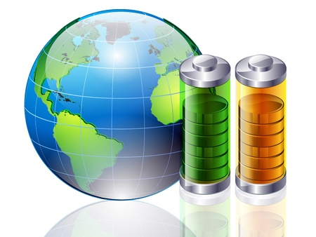 energy crisis: Batteries and a planet the earth, the energy crisis concept Illustration