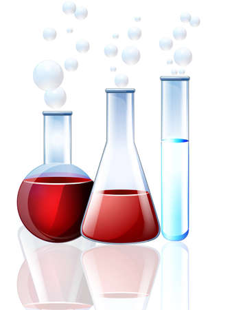 clinical laboratory: Laboratory glassware with reflections on table Illustration