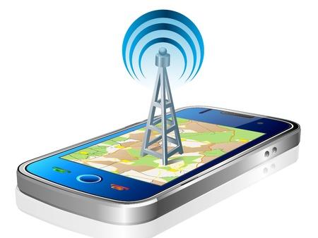 Touchscreen smartphone met GPS-navigatie