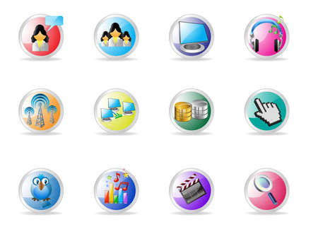 Communication channels and Social Media icon set Vector